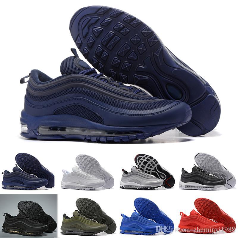 various colors 59984 aef12 Acquista Nike Air Max 97 97 Scarpe Outdoor Di Alta Qualità Scarpe Da Corsa  S OG Gold Silver Bullet Triple Bianco Nero Casual Da Donna Trainer Sport  Sneakers ...