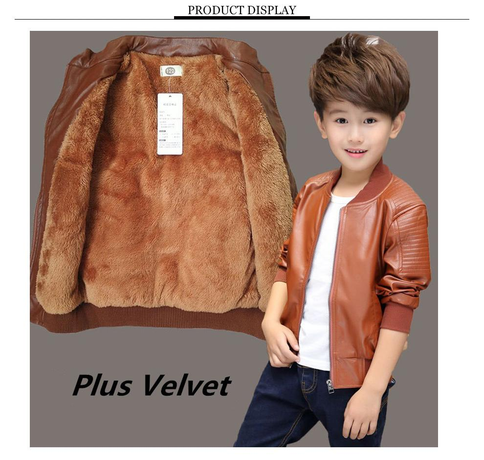 6a2e4f37e36a Boys Coat Fall And Winter Casual Outerwear 2019 New Children S Spring And  Autumn Models Leather Jacket Plus Velvet Thickened Girls Long Winter Jacket  Rain ...
