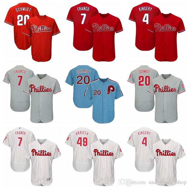 factory authentic bd89f a8ae4 Men s Philadelphia Scott Kingery Jersey Phillies Maikel Franco JT Realmuto  Mike Schmidt Arrieta Red White Blue Grey Baseball Jerseys