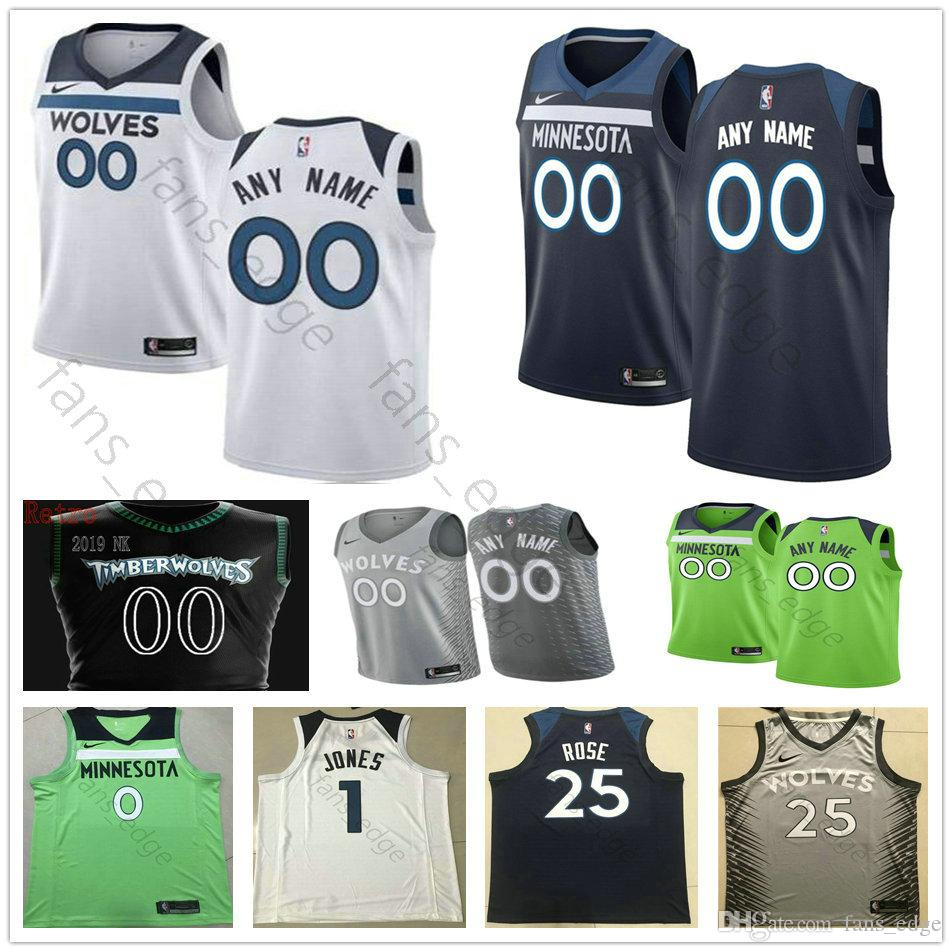best cheap bc45c 055fb Printed Minnesota 5 Gorgui Dieng 67 Taj Gibson 43 Anthony Tolliver 24  Justin Patton 1 Tyus Jones Luol Deng 42 Kevin Love Timberwolves Jersey