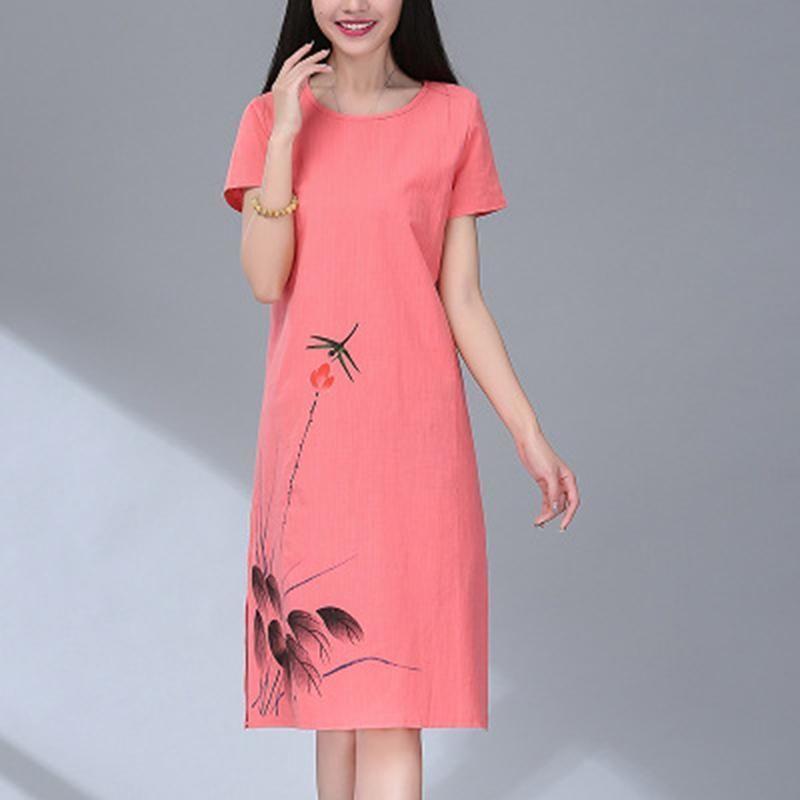 305321ee75d04 Women Dress Loose Summer Sundress Elegant Round Neck Knee Length Cotton  Linen Print Young Girl Dress Vestidos