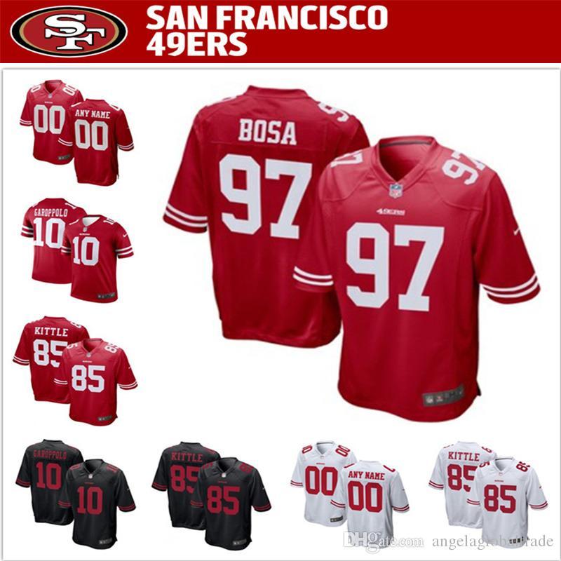 on sale 1d1cb d31a8 Men s 49ers jerseys San Francisco 97 Nick Bosa 85 George Kittle 10 Jimmy  Garoppolo Football jerseys