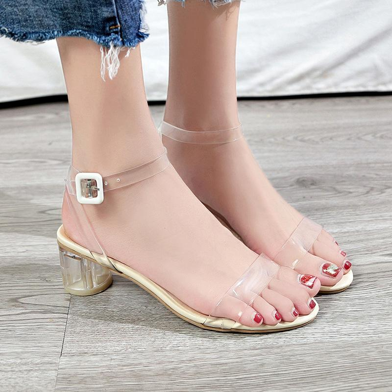 9719d925438 2019 Summer New Korean Fashion Sandals Thick With Wild High Heeled Crystal  Open Toe Transparent Buckle Sexy Shoes Clogs For Women From Chinain1988