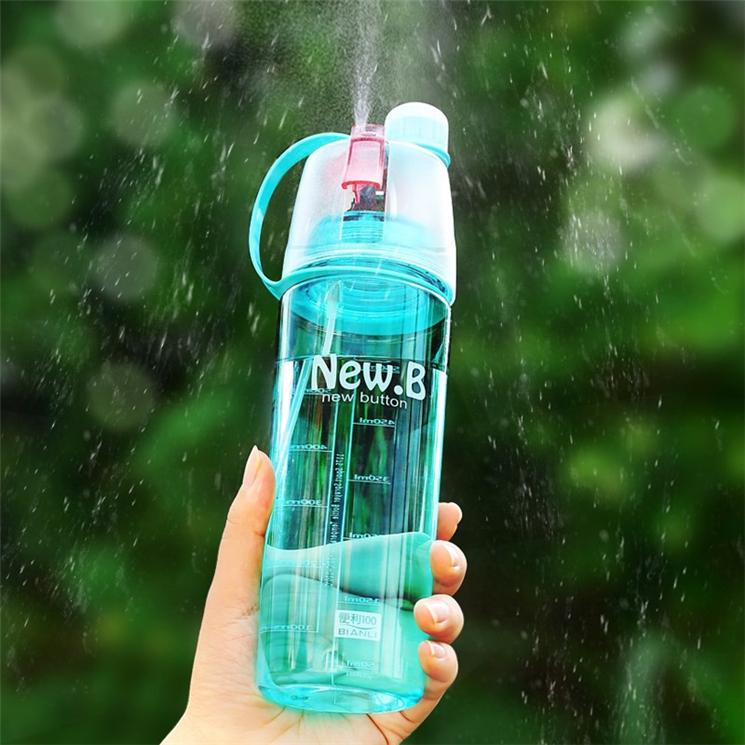 600ML Spray Water Bottle Outdoor Hiking Professional Sports Bottle With Measure Mark Portable Atomizing Drinking Bottles Kettles