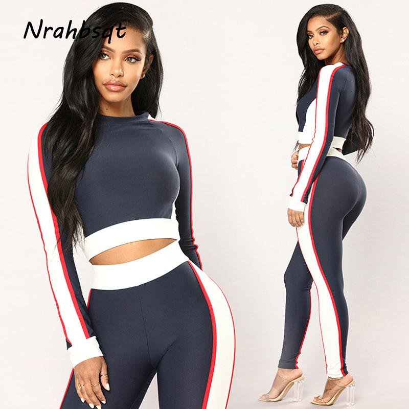 7cdbde43d5 NRAHBSQT Long Sleeve Sport Top +Pants Fitness Women Jogging Suit Running  Sets Yoga Suits Sexy Sportswear Workout Clothes RS026