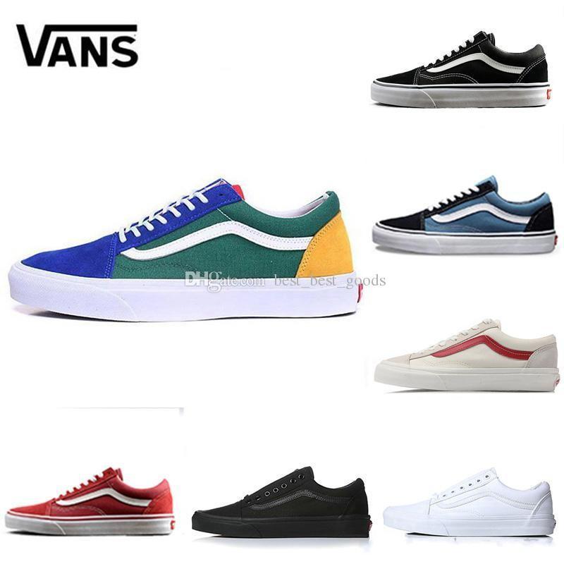 9cce396beb Compre Cheap Marca Vans Old Skool Medo De Deus Homens Mulheres Tênis De  Lona Clássico Preto Branco YACHT CLUB Vermelho Azul Moda Skate Sapatos  Casuais De ...