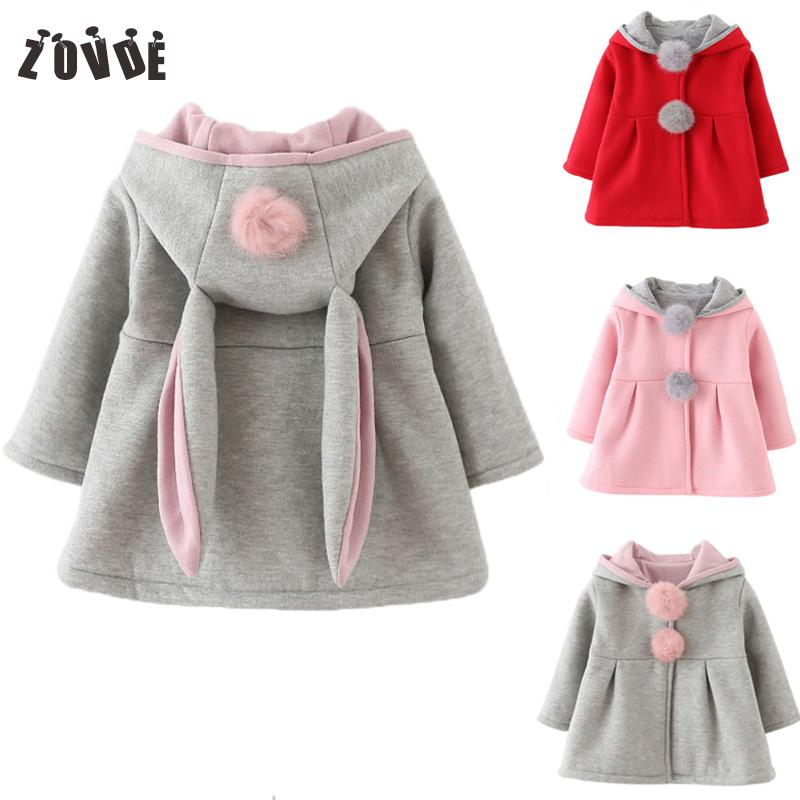 cf6dec32f 2018 Autumn Winter Baby Girls Jackets Rabbit Ears Hooded Casual ...