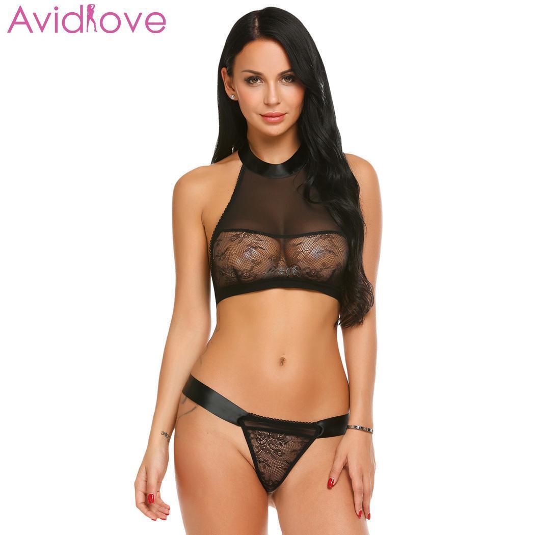 Avidlove Sexy Lingerie Bodysuit Erotic Underwear Sleepwear Women Sexy One Piece Lingerie Bodysuit Halter Lace Teddy Nightwear