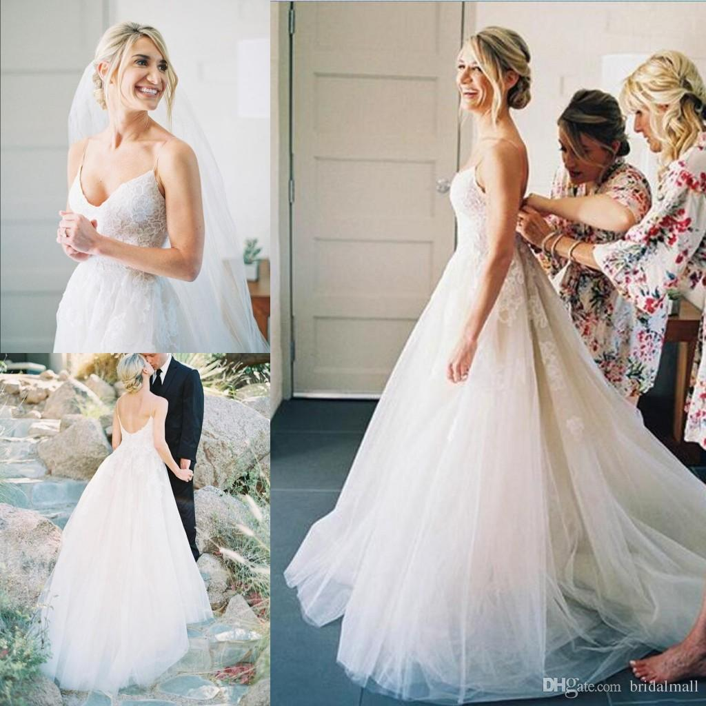 a9d258aa475 Discount 2019 Cheap Spaghetti Straps A Line Beach Wedding Dresses Simple  White Lace Appliques Boho Garden Bridal Gowns Custom Made Bride Dress  Online ...