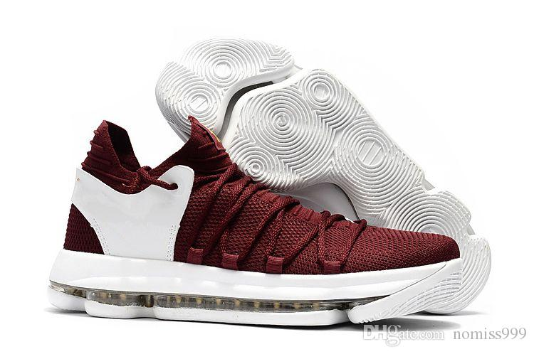 High Quality 2017 KD 10 Burgundy White Gold Dark Stucco Anthracite Men  Sports Shoes KD 10 X Elite Mid Kevin Durant Sport Sneakers Burgundy White  Gold Dark ... 736282a089d9