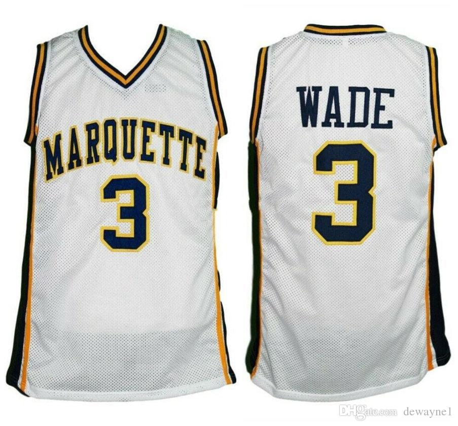 promo code 3cc63 af446 Dwyane Wade #3 Marquette Golden Eagles college White Retro Basketball  Jersey Men s Stitched Custom Any Number Name Jerseys
