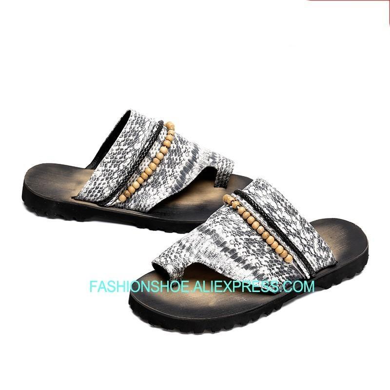 bc4e9b974e14 Snake Skin Leather Thong Slippers Flat Heel Fashion New Sumemr Mens ...
