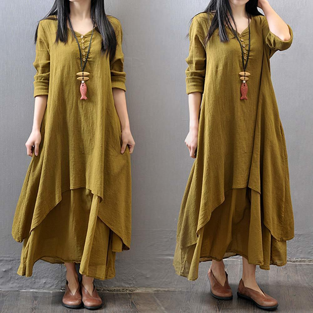 7284bfdbf7 2019 3xl 4xl 5xl Loose Cotton Linen Maxi Dress Plus Size Breathe Freely O  Neck Long Sleeve Dresses Boho Casual Solid Irregular Robe Y19012102 From  Shenyan01 ...