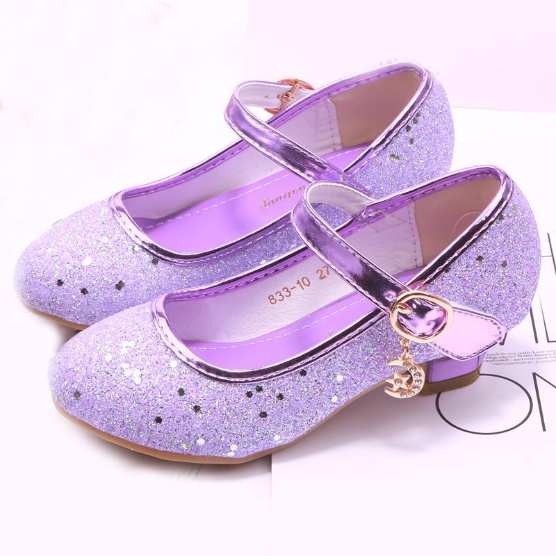 3f5cb6656ce Mudipanda Girl High Heels Pink Sandals Children s Purple Blue Princess  Shoes Sequin Students Dance Shoes Size 27-37 Kids Sandal Y190523