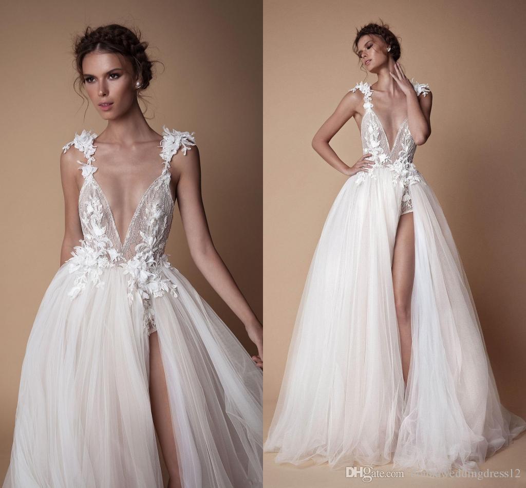 Ensotek Custom Made High End V Neck Evening Dresses A Line Evening Gowns  Straps Appliques Split Tulle Prom Formal Dress Vestido De Festa Floor  Length ... 294733000beb