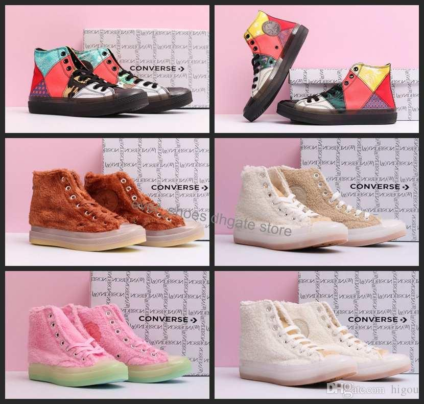 1fdbb57ca3d0 New Converse All Star Hi Faux Fur Sneaker CNY Chuck Taylor High Top Canvas  Casual Shoes Women Mens Skateboard Designer Brand Sneaekers 36 44 Gold Shoes  Mens ...