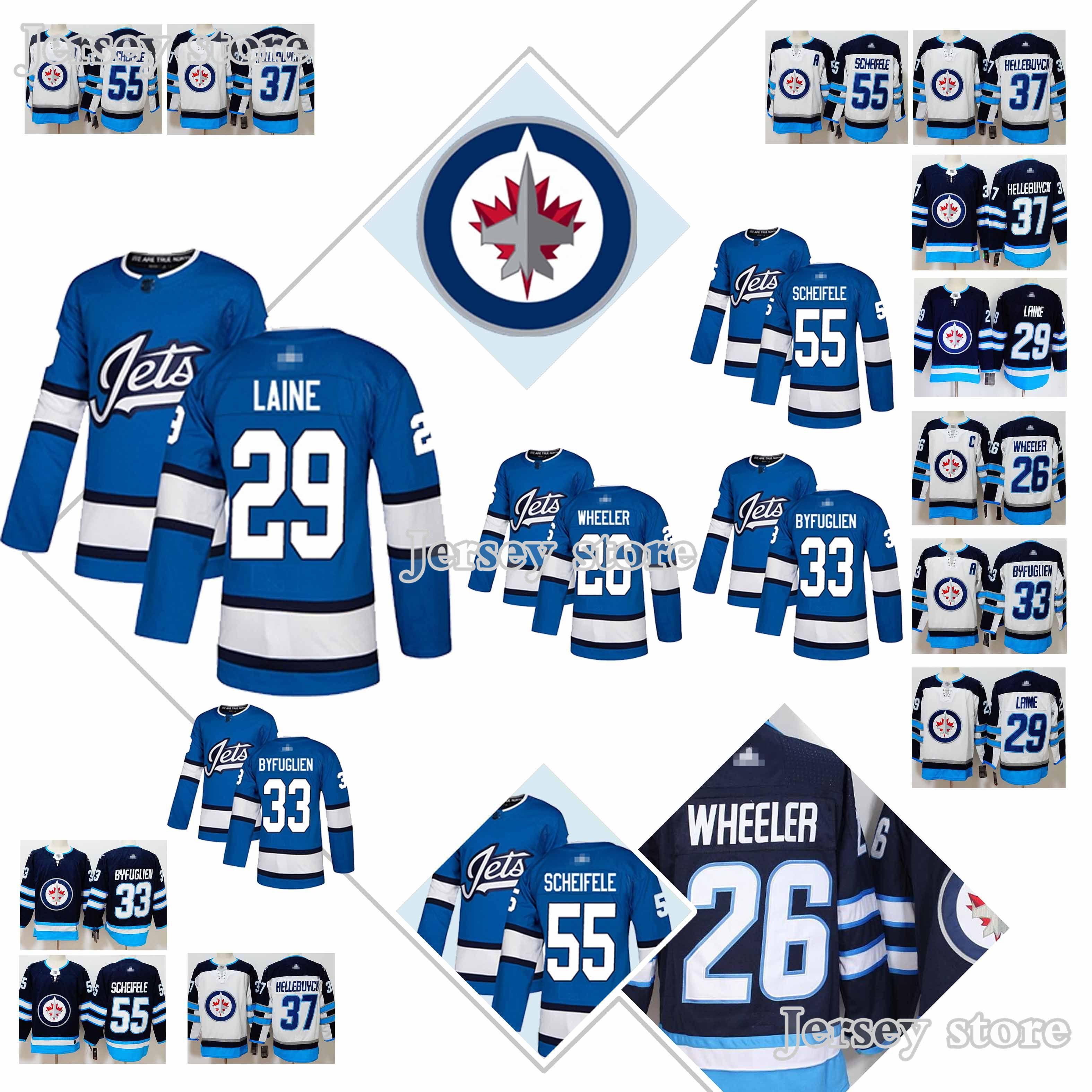 reputable site aaa76 e30ab Winnipeg Jets Jerseys #26 Blake Wheeler #29 Patrik Laine #33 Dustin  Byfuglien #55 Mark Scheifele #37 Connor Hellebuyck new Hockey Jersey
