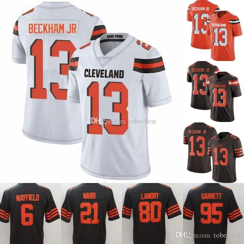 f8cae25fb 13 Odell Beckham Jr Cleveland 6 Baker Mayfield 31 Nick Chubb Browns Jersey  5 Tyrod Taylor 80 Jarvis Landry 73 Joe Thomas Ward Peppers Stitch UK 2019  From ...