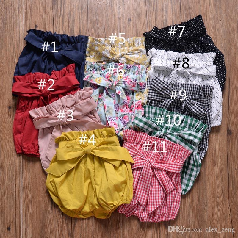 Neonate Bow Knot Lantern Pants Estate Kids Designer Clothing Vendita calda Little Girls tinta unita Pantaloni corti Bloomers 11 colori