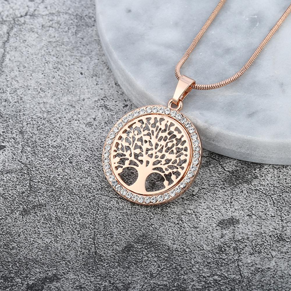 3d86dcf86 Tree of Life Necklace Crystal Round Small Hollow Pendant Necklace ...