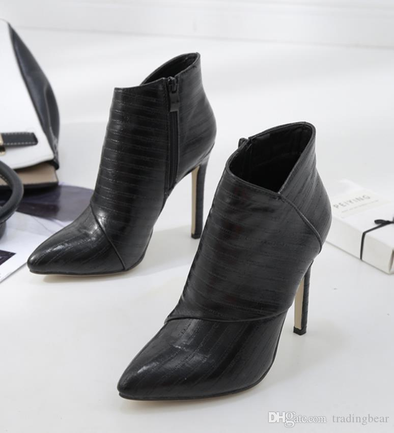 Chic black pointed toe stiletto heels ladies boots winter women designer ankle boots size 35 to 40