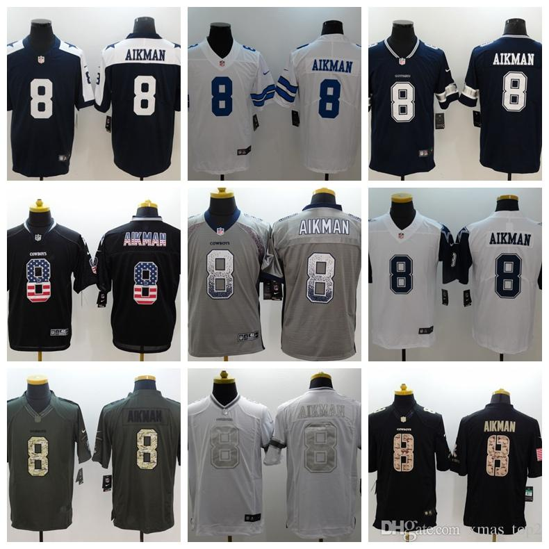the best attitude 902ff b6e0e 2019 New Mens 8 Troy Aikman Dallas Cowboys Football Jersey 100% Stitched  Embroidery Cowboys Troy Aikman #8 Color Rush Football Shirts