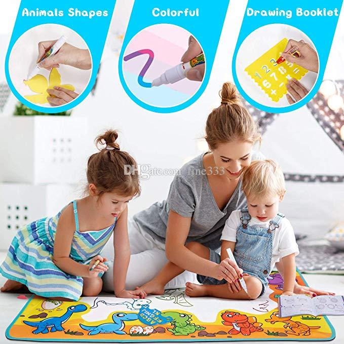Large Drawing Mat for Kids - Free to Fly Water Painting Writing Doodle Board Toy Color Aqua Magic Mat Bring Magic Pens Educational Gift