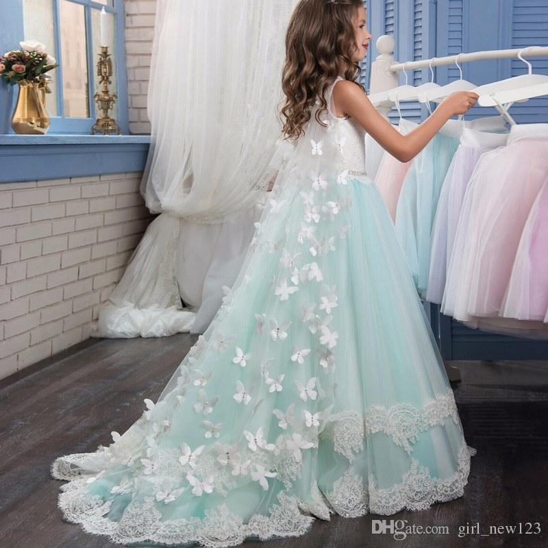 Più recente Flower Girl Pageant Dress Formal Ball Gown Princess Party Prom compleanno Wedding Party Dress PX190