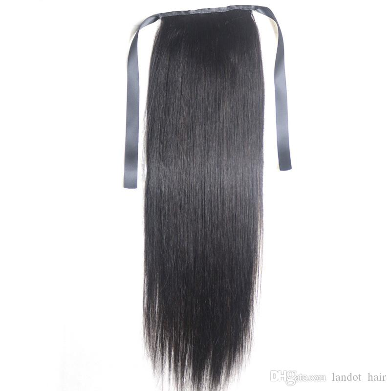 9A Ponytail Clips in Human Hair Extensions Horsetail Peruvian Malaysian Indian Brazilian Virgin Remy Straight Hair Natural Color Blonde 613#