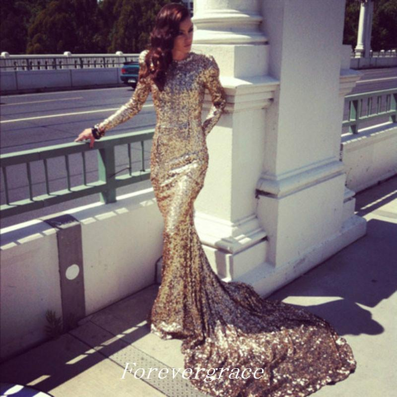 2019 Shinning Gold Sequined Prom Dress Mermaid With Long Sleeves Formal Women Wear Special Occasion Dress Party Gown Custom Made Plus Size