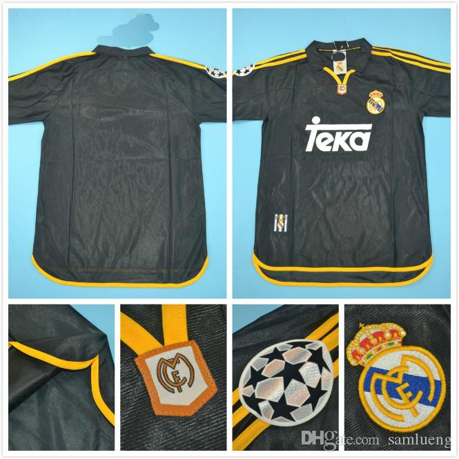 more photos dd7cb 45140 Top quaity 2000 Real Madrid UCL rugby version men size jersey 7#RAUL  6#REDONDO BLACK Retro Jersey