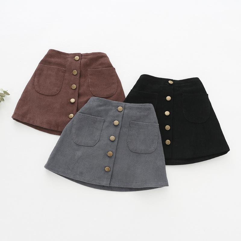 836838b9f33 Children Tutu Girls Skirts Solid Button Tutu Skirt Girls Spring ...