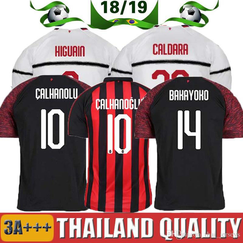 2019 Enfant 2018 2019 Milan AC HIGUAIN BAKAYOKO ANDRE SILVA CALHANOGLU  Série De Maillots De Football 18 19 Kits De Camisetas CONTI Kalinic SUSO  From ... fe686069e64ef