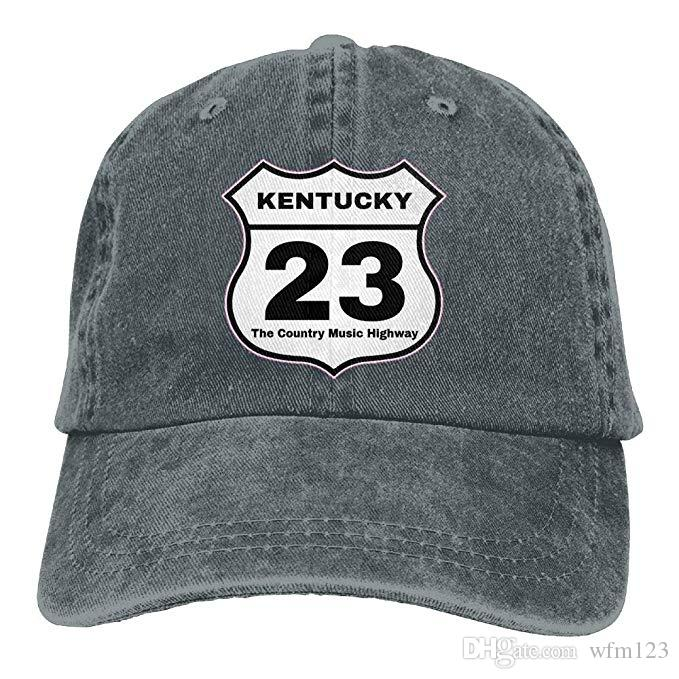 fc0cb040049 2019 New Cheap Baseball Caps Kentucky 23 Country Music Highway Mens Cotton  Adjustable Washed Twill Baseball Cap Hat Flat Brim Hats Baby Cap From  Wfm123