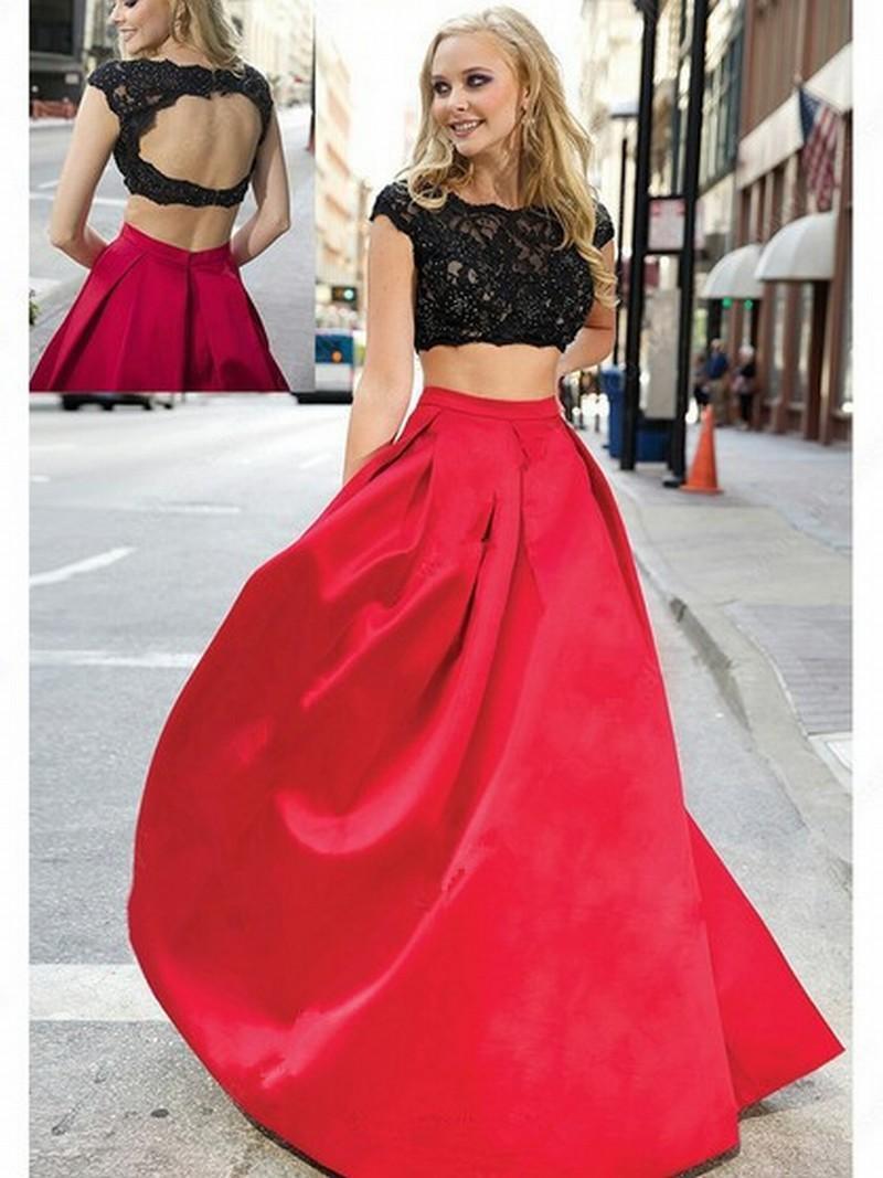 124f3aec6e Compre Top De Encaje Negro Falda Roja Dos Piezas Vestidos De Noche Vestidos  De Noche Moda Nupcial Vestido Especial Ocasión Vestido De Fiesta De Dama De  ...