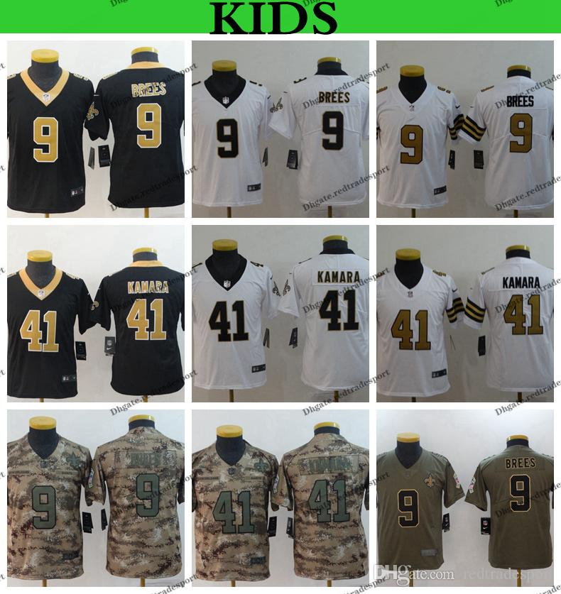 8bd55ad0f9b 2019 Youth New Orleans Kids Saints Camo Salute To Service Football Jerseys  9 Drew Brees 41 Alvin Kamara Rush Stitched Shirts From Redtradesport