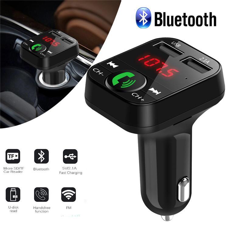El más nuevo B2 inalámbrico Bluetooth Multifunción transmisor FM Cargador de coche USB Mini reproductor de MP3 Car Kit Holder Tarjeta TF manos libres Modulador de auriculares