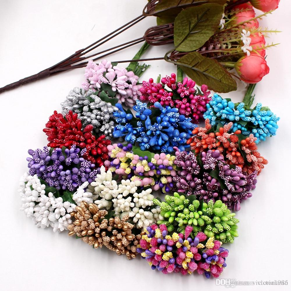 wholesale 144Pcs/bag Handcraft Artificial Flowers Stamen Sugar Wedding Party Decoration DIY Wreath Gift Box Scrapbooking Cheap Fake Flowers
