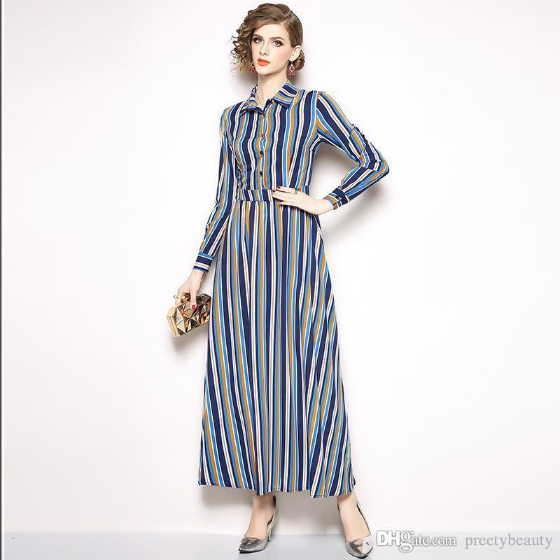759b0635a3 Long Maxi Dress For Woman Casual Striped Maxi Dresses Women Going Out Tunic Dress  Long Sleeve Single Breasted Slim Shirt Dress Floral Summer Dress Casual ...