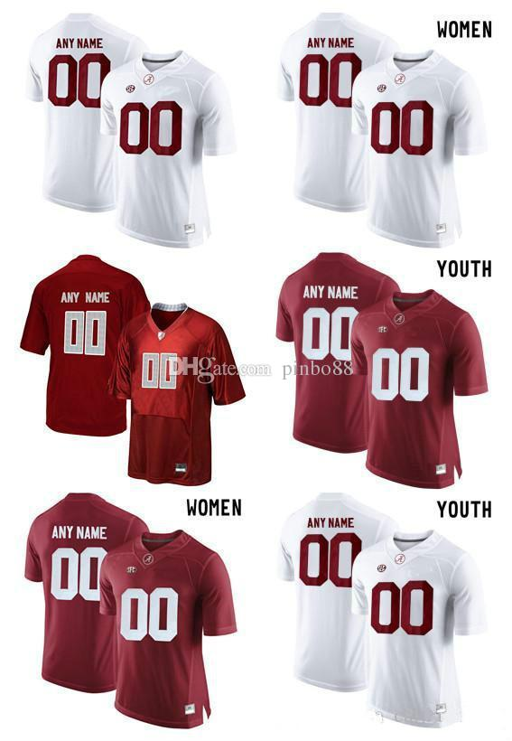 sports shoes 1bc2f 20754 2018 Alabama Crimson Tide Customize College Football Limited Women Men  Youth Jersey - Red White