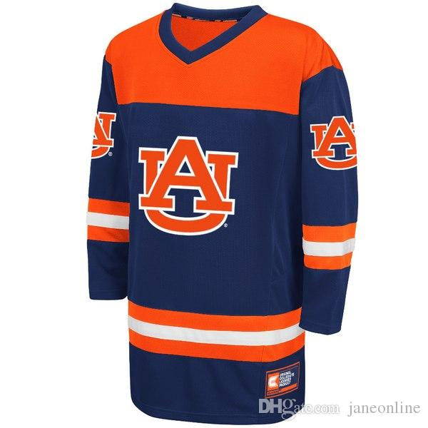 7fca3c5328ab Custom New Colosseum Navy Auburn Tigers Hockey Jersey Embroidery ...