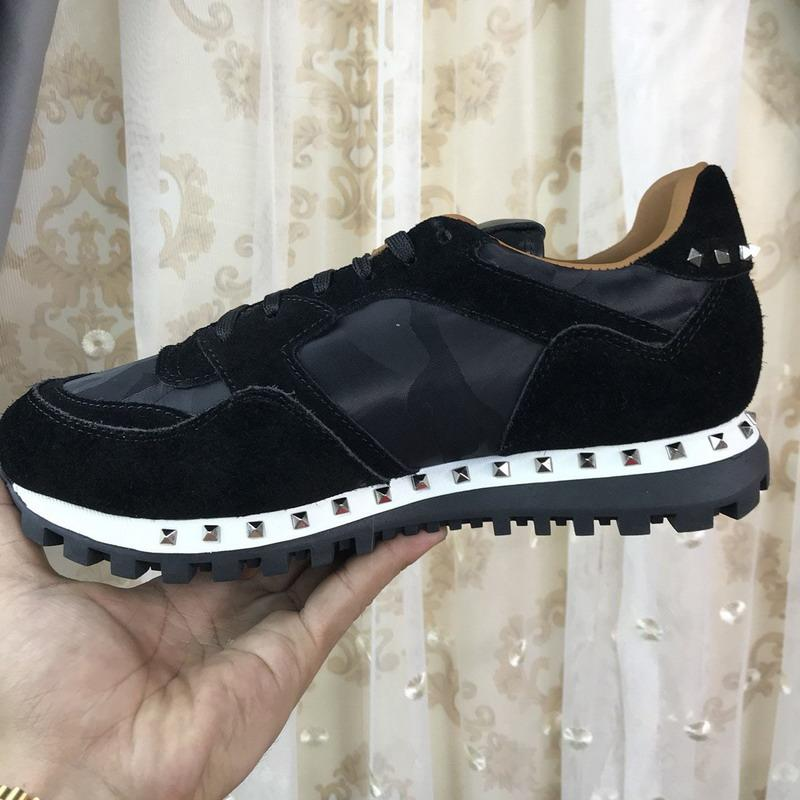 Brand Men Women Black Suede Genuine Leather With Sliver Rivets Sneakers,Designer Trainers Lovers Casual Shoes Big Size 35-46 Drop Shipping