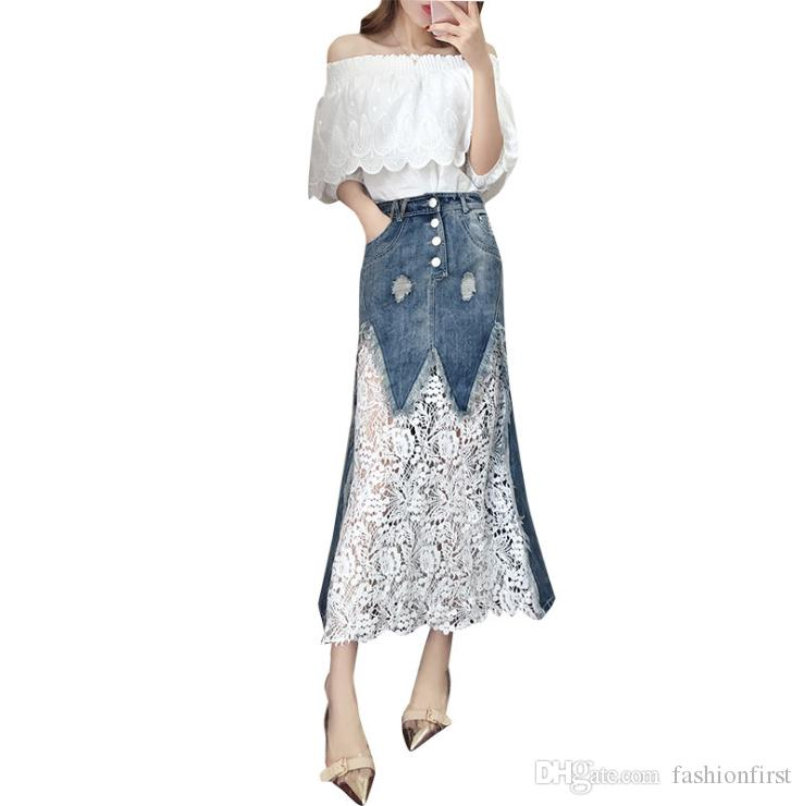 e27f942414a 2019 Latest Design 2019 New Womens Clothing Korean Slash Neck Off The  Shoulder Dress Chic Two Piece Skirt Denim Skirt Set Two Piece Dress From  Fashionfirst