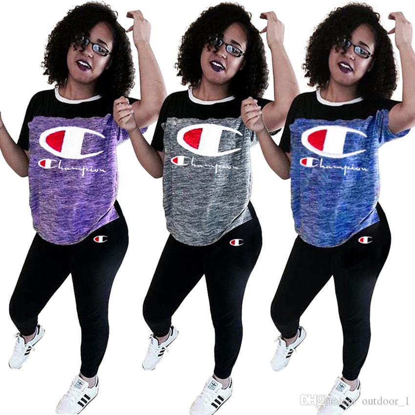 1e6411f27d5 Brand Designer Women Tracksuit Two Pieces Outfits T-shirt Leggings Summer Clothes  Sportswear Pants Tshirt Champions Sweatsuit Online with $15.86/Set on ...