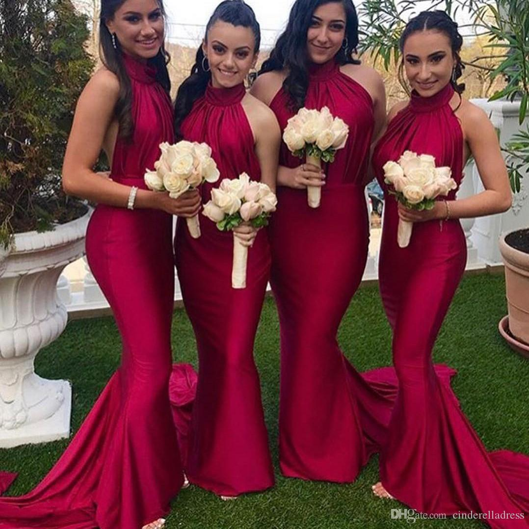 58e86e5495eaa 2019 Sexy Bridesmaid Dresses For Weddings Country Garden Style Sheath  Halter Neck Open Back Pleats Long Wedding Guest Evening Prom Gowns