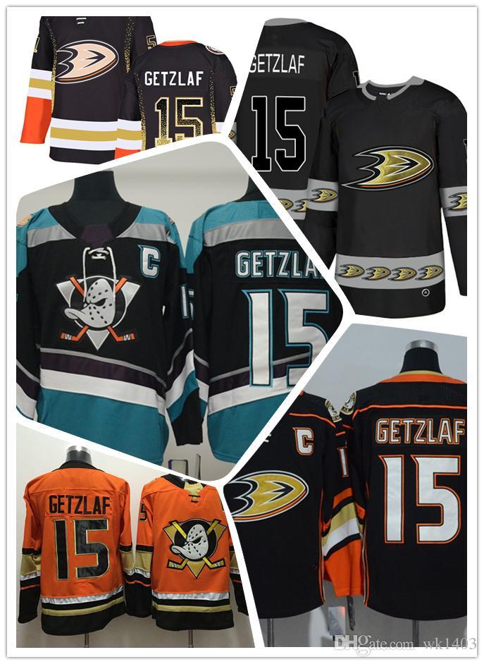 outlet store 82776 7b8a5 Anaheim Ducks jerseys #15 Ryan Getzlaf jersey ice hockey movie men Black  Teal Alternate orange Authentic Double Stiched CCM Jerseys S - 3XL