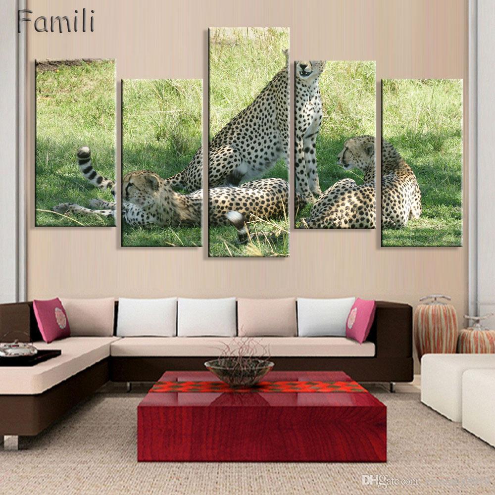 5 Pz soggiorno decorazione della parete di casa poster di stoffa animale  Cheetah macchie predatore tela pittura animale stampa foto a parete