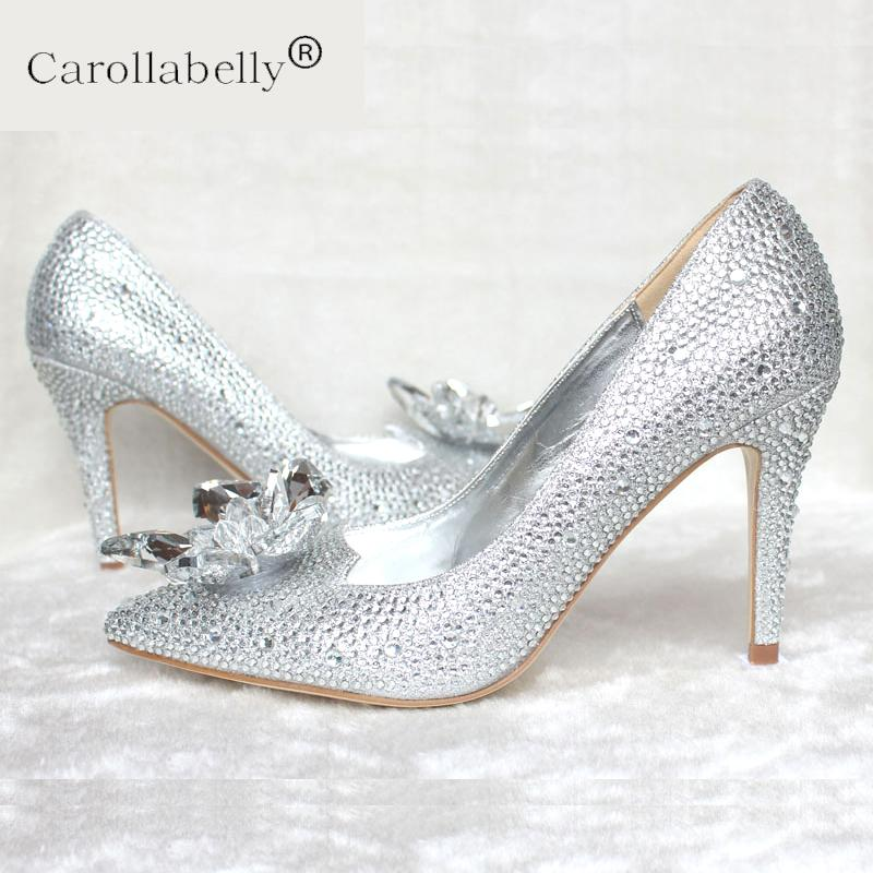 26c6632c99b 2019 2019 Spring New Rhinestone High Heels Cinderella Shoes Women Pumps 5cm  7cm 9cm Heel Woman Crystal Wedding Shoes Bridal From Kaochange