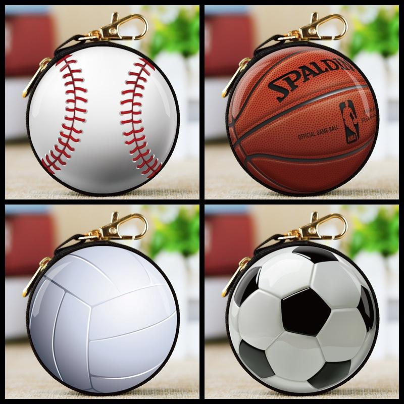 Baseball football coin bag keychain holder 3d printed coin wallet change money pocket kids party favor gift bag FFA2191