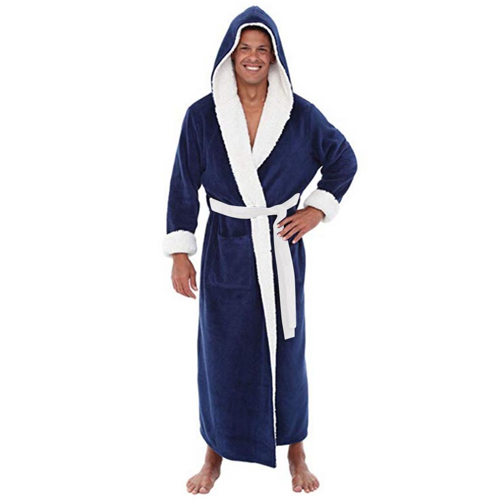 249bfa9c3d 2019 Kimono Men Bathrobes Robe Hooded Long Sleeve Couple Men Woman Robe  Plush Shawl Kimono Warm Male Fashion Casual Bathrobe Coat From Cfendou